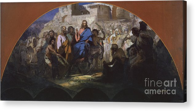 Oil Painting Acrylic Print featuring the drawing Try Of Christ Into Jerusalem, 1876 by Heritage Images