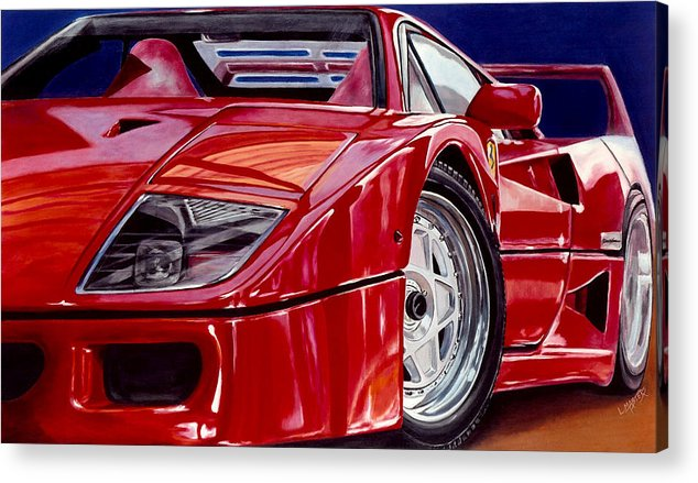 F40 Acrylic Print featuring the painting Reflection Of An Admirer by Lynn Masters
