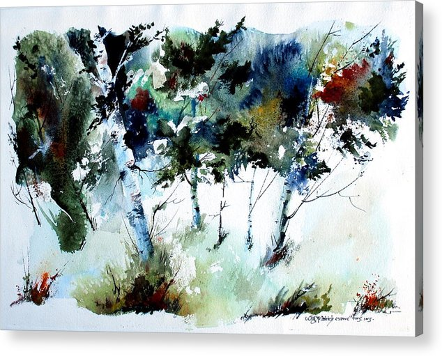 Abtract Forest Trees Acrylic Print featuring the painting How Green Was MY Valley by Wilfred McOstrich