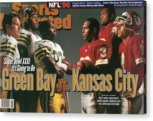 Green Bay Acrylic Print featuring the photograph Green Bay Packers And Kansas City Chiefs, 1996 Nfl Football Sports Illustrated Cover by Sports Illustrated