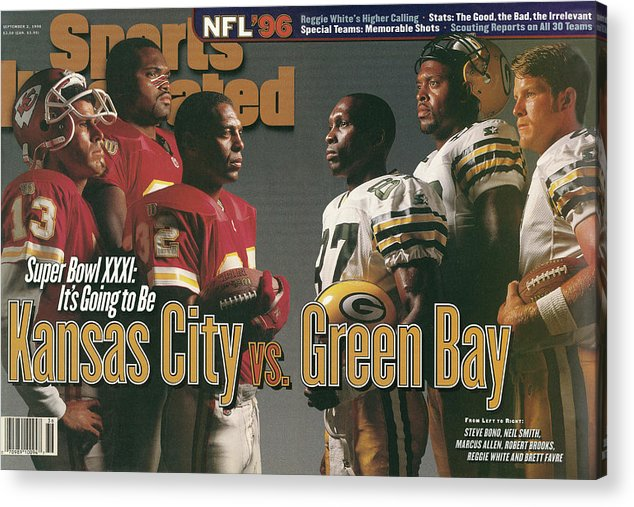 Brett Favre Acrylic Print featuring the photograph Kansas City Chiefs Vs Green Bay Packers, 1996 Nfl Football Sports Illustrated Cover by Sports Illustrated
