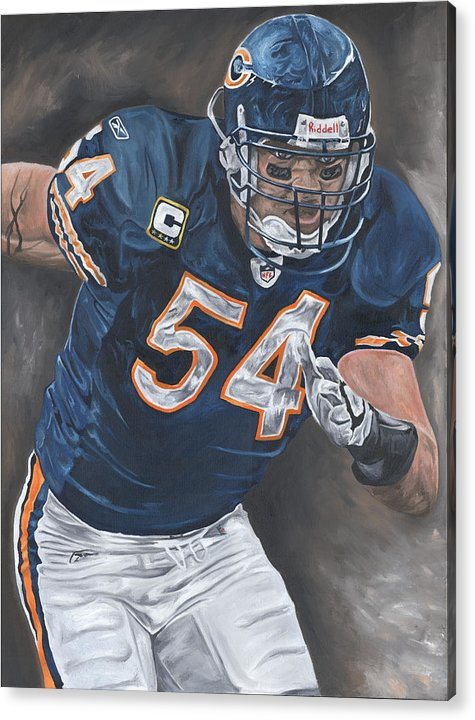 Brian Urlacher Chicago Bears Nfl Football Sports Painting Tackle Linebacker Defense David Courson Art Acrylic Print featuring the painting Brian Urlacher Seek And Destroy by David Courson