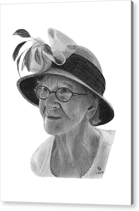 Liz Acrylic Print featuring the drawing Liz by Charles Vogan
