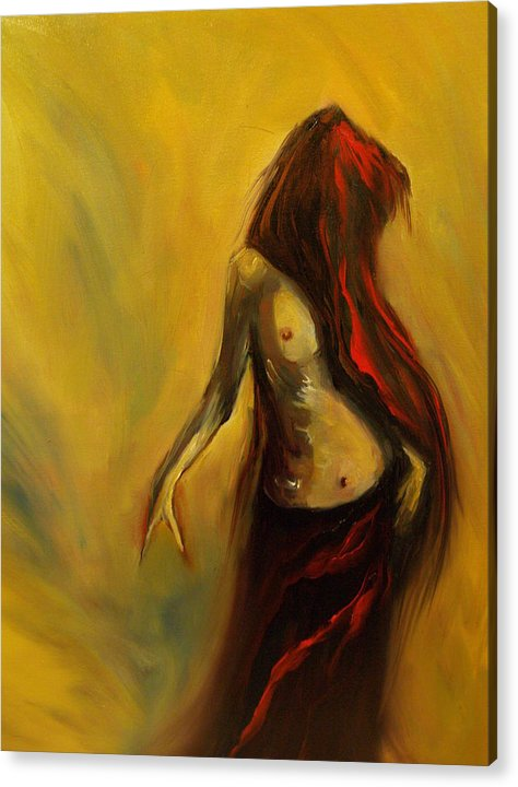 Semi Nude Woman Hair Yellow Acrylic Print featuring the painting Tu Solo Tu by Niki Sands