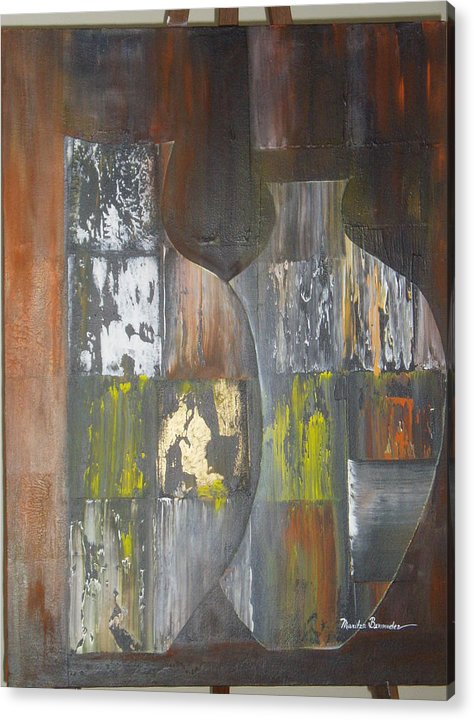 Vases Acrylic Print featuring the painting Two Vases by Maritza Bermudez
