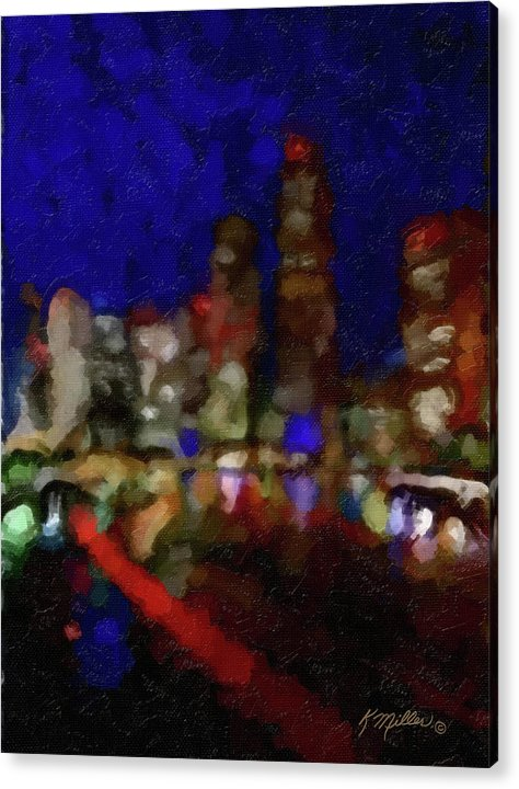 Impressionist Acrylic Print featuring the painting Cityscape by Kathie Miller
