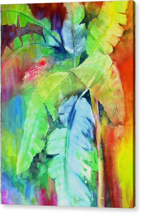 Tropical Tree Acrylic Print featuring the painting Banana Leaves by Maritza Bermudez