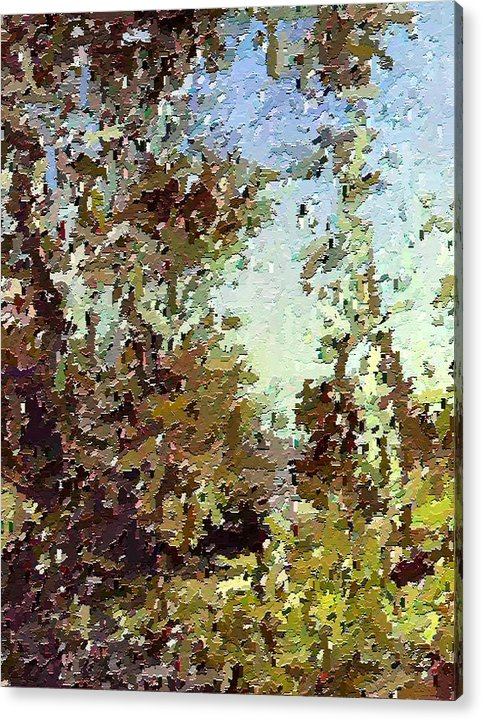 Abstract Acrylic Print featuring the painting Trees In The Back Yard by Don Phillips