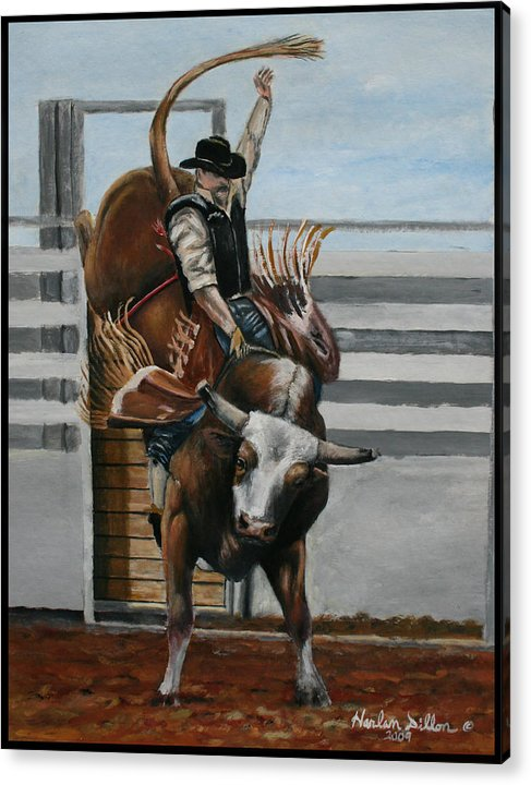 Rodeo Acrylic Print featuring the painting Bullrider by Harlan Dillon