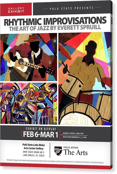 Everett Spruill Acrylic Print featuring the mixed media Rhythmic Improvisations - The Art of Jazz by Everett Spruill