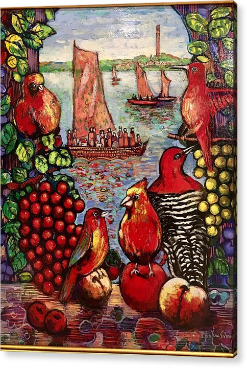 Birds Acrylic Print featuring the painting Birds and immigrants in red by Marilene Sawaf