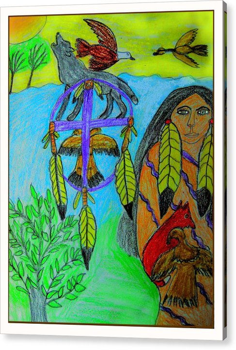 Dream Catchers Acrylic Print featuring the drawing Natural Dream Catcher by Betty J Roberts