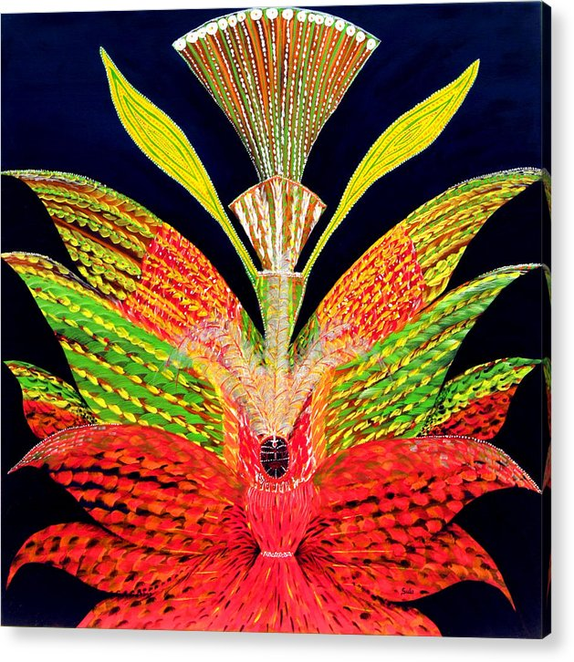 Caribbean Acrylic Print featuring the painting Carnival Queen by Sula Chance