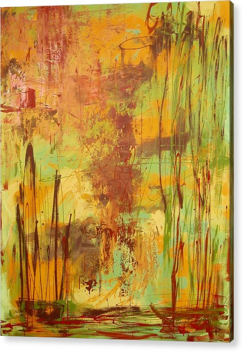 Abstract Acrylic Print featuring the painting Liquid Bronze by Maritza Bermudez