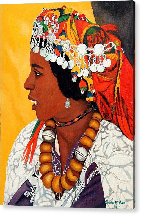 African American Art Acrylic Print featuring the painting African Beauty by Patrick Hunt