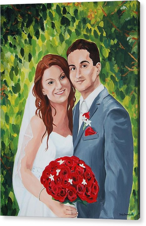 Wedding Acrylic Print featuring the painting Their Wedding Day by Judy Swerlick