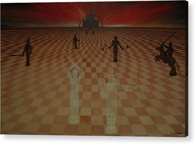 Chess Acrylic Print featuring the painting The Final Defense by Edward Wheeler