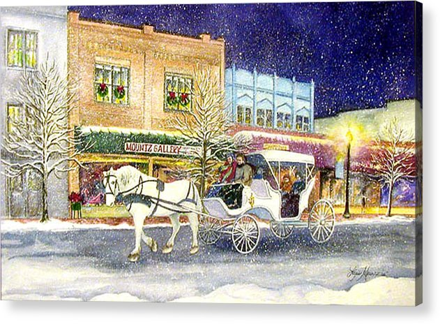 Horse;carriage;carriage Ride;winter;snow;holiday;christmas;lamplight; Acrylic Print featuring the painting Home For The Holidays by Lois Mountz