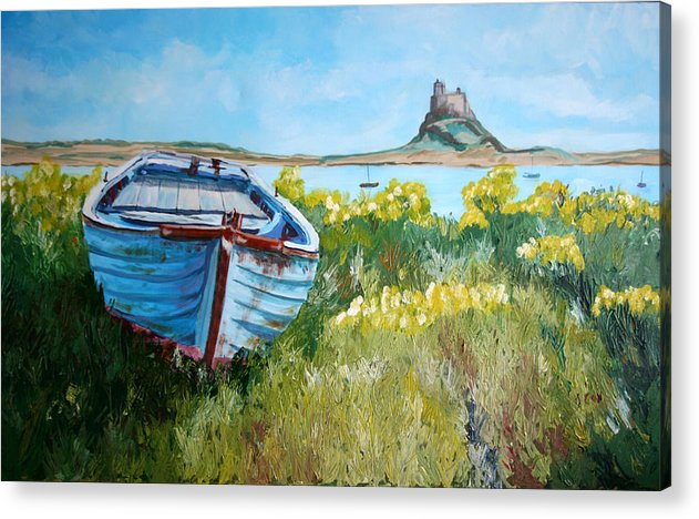 Seascape Acrylic Print featuring the painting Boat On Lindisfarne. by John Cox