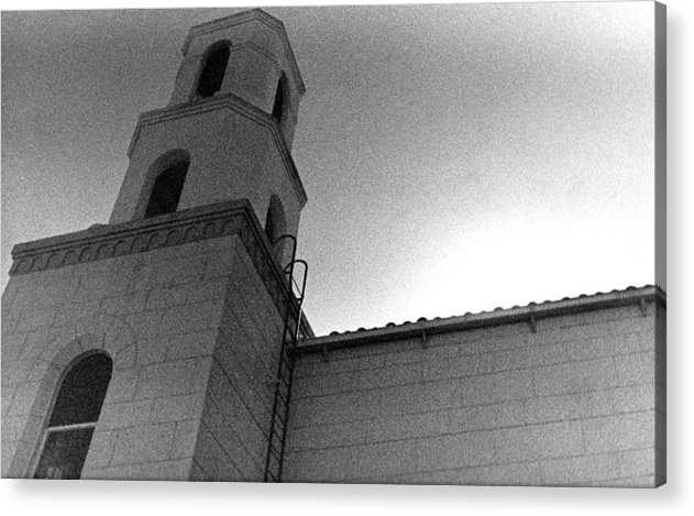 Black & White Acrylic Print featuring the photograph Cemetery Exterior by Mike Vines