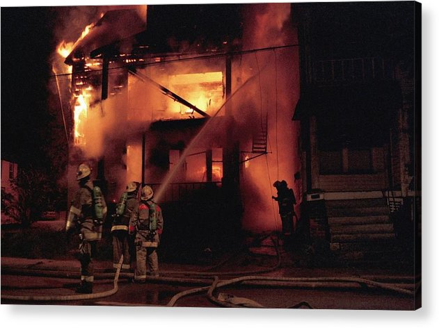 Fire Acrylic Print featuring the photograph 071506-4 Cleveland Firefighters On The Job by Mike Davis