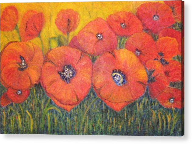 Poppies Acrylic Print featuring the painting Poppies For My Sister by Patricia Ortman