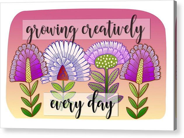 Flowers Acrylic Print featuring the digital art Growing Creatively by Elaine Jackson