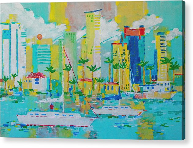 Water Acrylic Print featuring the painting Bay View by Art Mantia