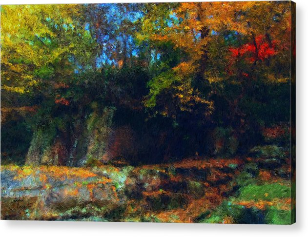 Autumn Acrylic Print featuring the digital art Bursting Autumn Cheer by Stephen Lucas