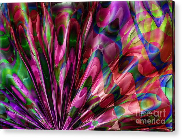 Abstract Realism Colors Fans Abstract Digital Acrylic Print featuring the digital art Silken Fan by Carolyn Staut