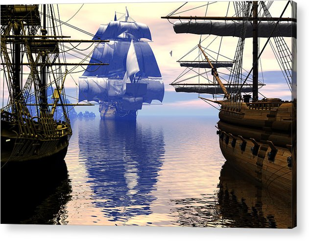Bryce Acrylic Print featuring the digital art Arrival Of The Man-o-war by Claude McCoy
