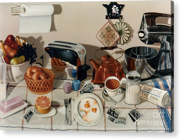 Still Life Acrylic Print featuring the painting Breakfast With The Beatles - Skewed Perspective Series by Larry Preston