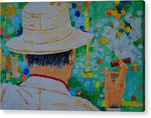 People Acrylic Print featuring the painting Aurturo Fuente by Art Mantia