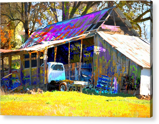 Acrylic Print featuring the digital art Barn And Truck by Danielle Stephenson
