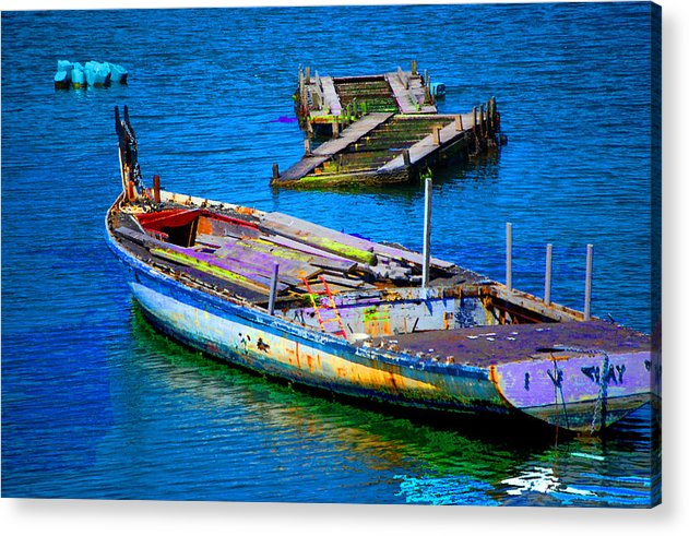 Acrylic Print featuring the digital art Docked Boat by Danielle Stephenson