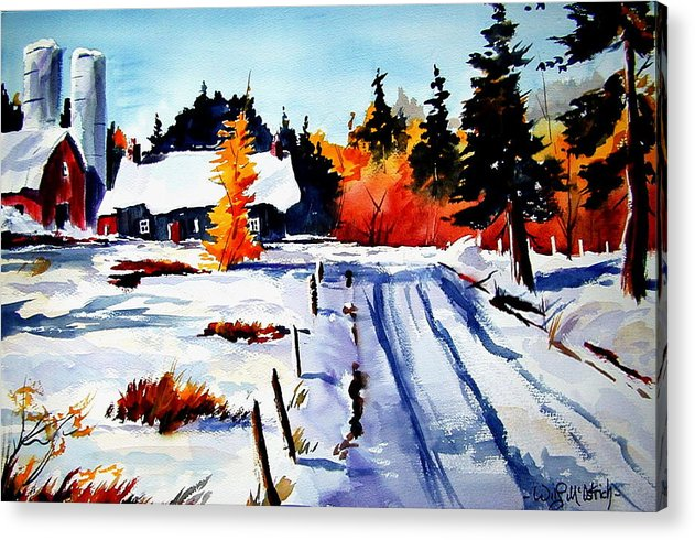 Landscape Acrylic Print featuring the painting First Snow And Last Of Fall by Wilfred McOstrich