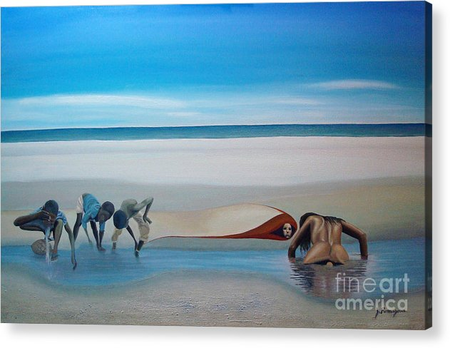 Seascape Acrylic Print featuring the painting Her Secret by Juan Romagosa
