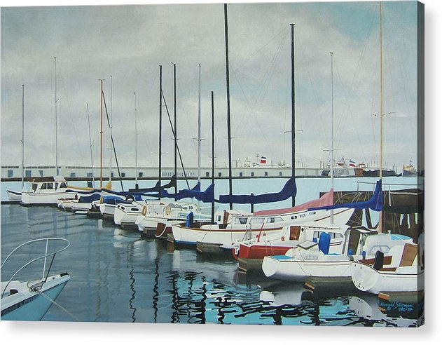 Boats At Dock Acrylic Print featuring the painting Mozells Boats by Howard Stroman