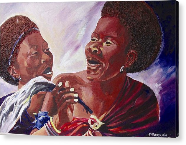 Acrylic Print featuring the painting Swaziladies by Michael Echekoba