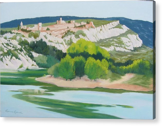 Landscape Acrylic Print featuring the painting Village Above L'ardeche by Roxanne Rodwell