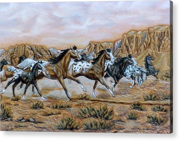 Horses Acrylic Print featuring the painting Being Free by Lilly King