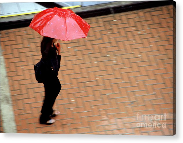 Rain Acrylic Print featuring the photograph Red 1 - Umbrellas Series 1 by Carlos Alvim