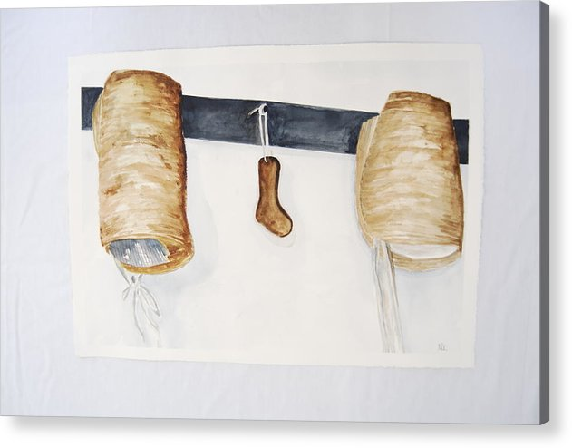 Shaker Women Bonnets And Sock Form Acrylic Print featuring the painting Shaker Women Bonnets And Sock Form by Marti Kuehn