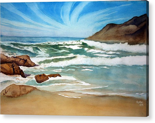 Rick Huotari Acrylic Print featuring the painting Ocean Side by Rick Huotari