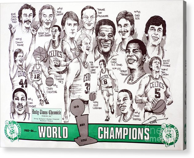 Nba Acrylic Print featuring the drawing 1986 Boston Celtics Championship Newspaper Poster by Dave Olsen