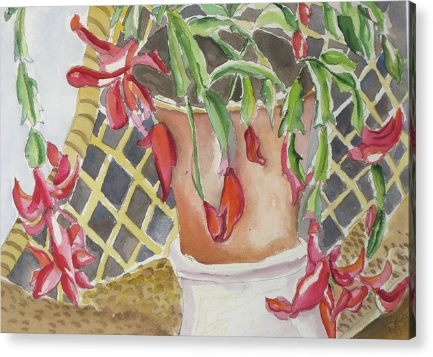 Still Life Acrylic Print featuring the painting Christmas Cactus by Kathy Mitchell