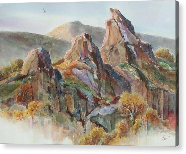 Landscape Mixed Media Acrylic Print featuring the painting Three Sisters by Don Trout