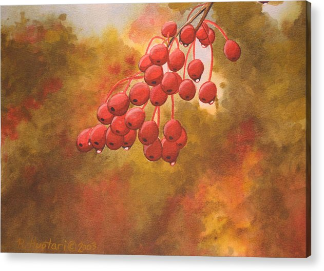 Rick Huotari Acrylic Print featuring the painting Door County Cherries by Rick Huotari