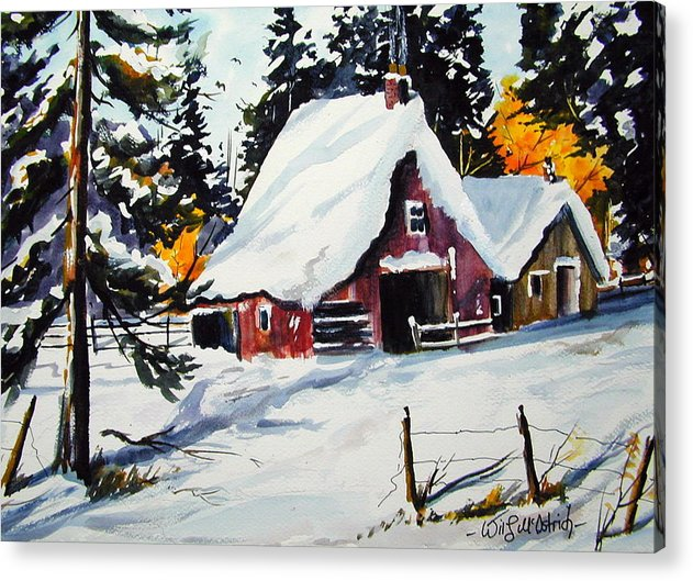 Quebec Sugar Shack At Grand Mere Acrylic Print featuring the painting Sugar Shack At Grande Mere by Wilfred McOstrich
