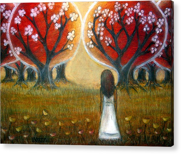Trees Acrylic Print featuring the pastel Watching The Trees by Valentina Kross